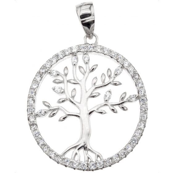 Silver Bar Elämän puu zirkonia riipus 20 mm 86