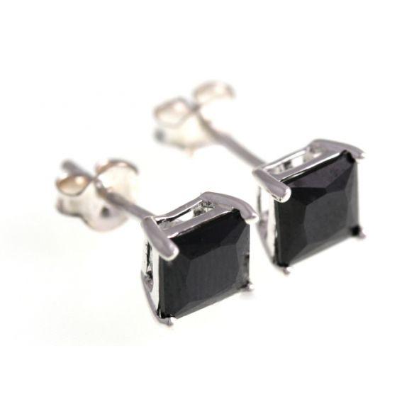 Silver Bar nelikulmaiset zirkoniakorvakorut musta 8x8 mm 3482