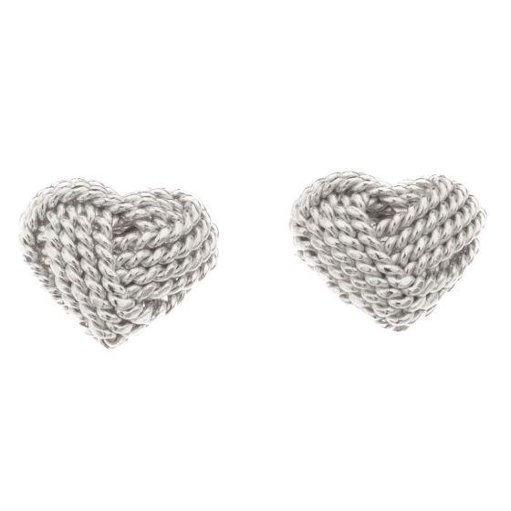 Silver Bar kudottu sydän korvakorut 10 mm 2319