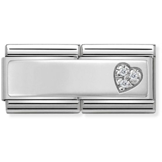 Nomination Silvershine Double Heart with CZ 330731-09