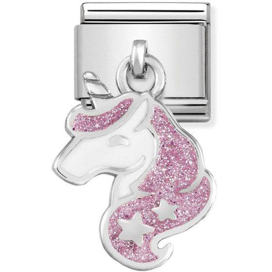 Nomination Silvershine White and Glitter Pink Unicorn 331805-13