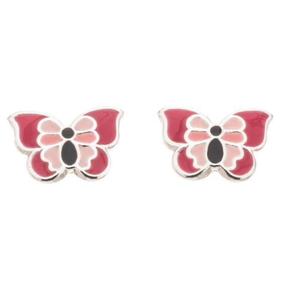 Silver Bar Perhonen korvakorut vaaleanpunainen 7 mm 8084