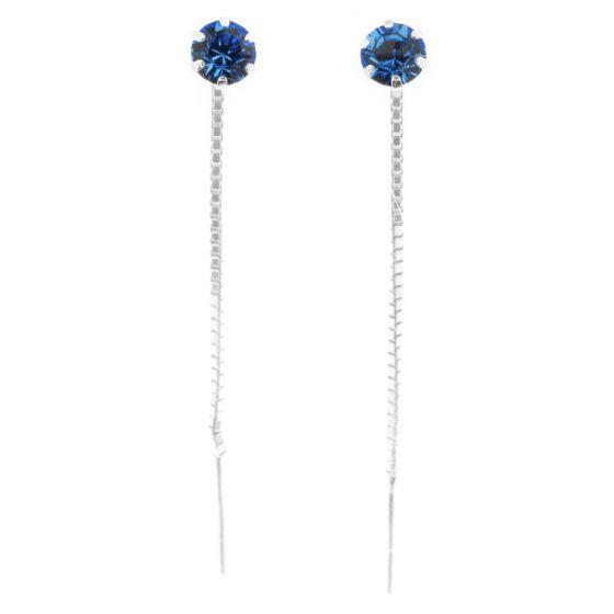 Silver Bar zirkoniaketjukorvakorut sininen 4 mm 8294
