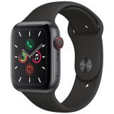 Apple Watch Series 5 GPS + Cellular tähtiharmaa alumiinikuori 44mm musta urheiluranneke MWWE2KS/A