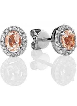 Kohinoor valkokultaiset timantti-morganiitti korvakorut 143-P5186V