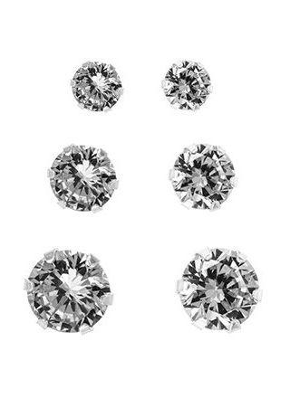 Silver Bar zirkoniakorvakorut kolmen parin lahjasetti kirkas 3+4+5mm 7122