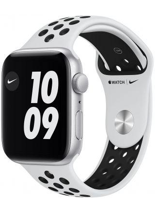 Apple Watch Nike SE GPS hopeanvärinen alumiinikuori 44 mm Pure Platinum/musta Nike urheiluranneke MKQ73KS/A