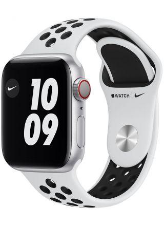 Apple Watch Nike Series 6 GPS + Cellular hopeanvärinen alumiinikuori 40 mm Pure Platinum/musta Nike urheiluranneke M07C3KS/A