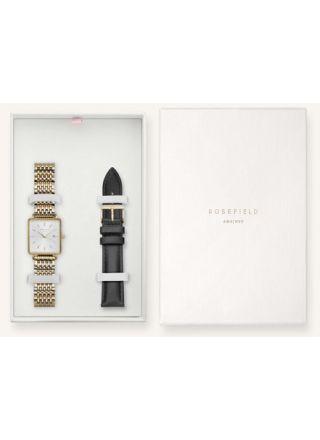 Rosefield lahjapakkaus sis. The Boxy White gold rannekello ja musta nahkaranneke BWSBG-X242
