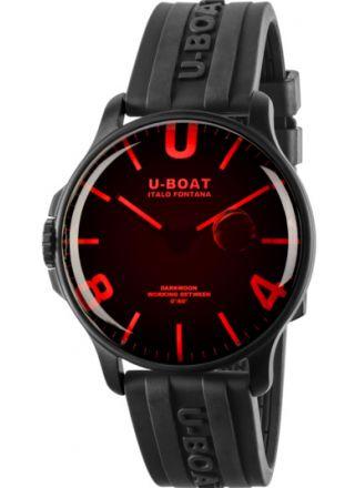 U-BOAT DARKMOON 44MM RED GLASS IPB / RUBBER STRAP 8466