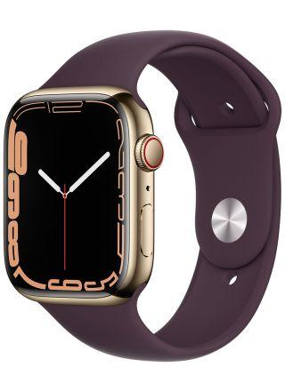 Apple Watch Series 7 GPS + Cellular kullanvärinen ruostumaton teräskuori 45 mm tumma kirsikka urheiluranneke MKJX3KS/A
