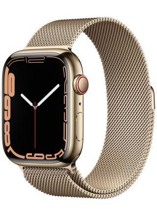 Apple Watch Series 7 GPS + Cellular kullanvärinen ruostumaton teräskuori 45 mm kullanvärinen milanolaisranneke MKJY3KS/A