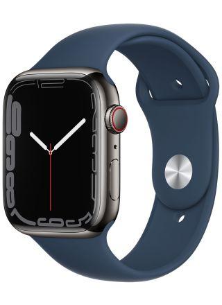 Apple Watch Series 7 GPS + Cellular grafiitinvärinen ruostumaton teräskuori 45 mm syvänteensininen urheiluranneke MKL23KS/A