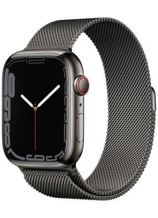 Apple Watch Series 7 GPS + Cellular grafiitinvärinen ruostumaton teräskuori 45 mm grafiitinvärinen milanolaisranneke MKL33KS/A
