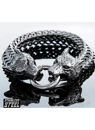 Northern Viking Jewelry NVJRA007 rannekoru Steel Wolf Head