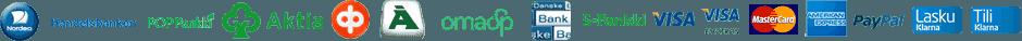 Verkkokaupan maksutapojen logot